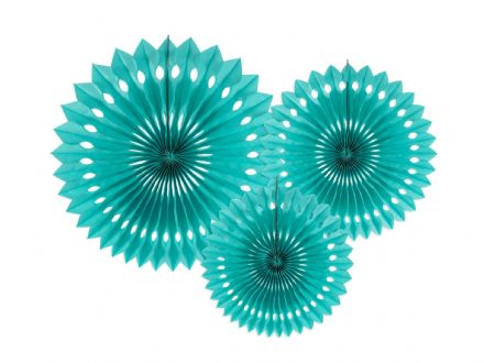 Malachite Tissue Paper Fans - Pack of 3